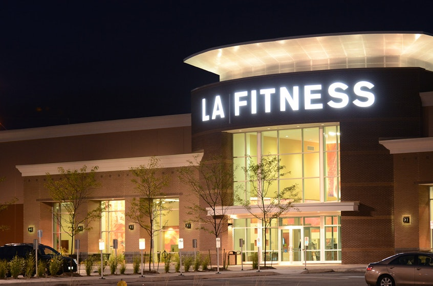 LA Fitness exterior entrance, night